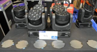 6 Robe Robin 100 LEDBeam Moving Head Beam Light in wheeled flight case with hanging clamp mount,