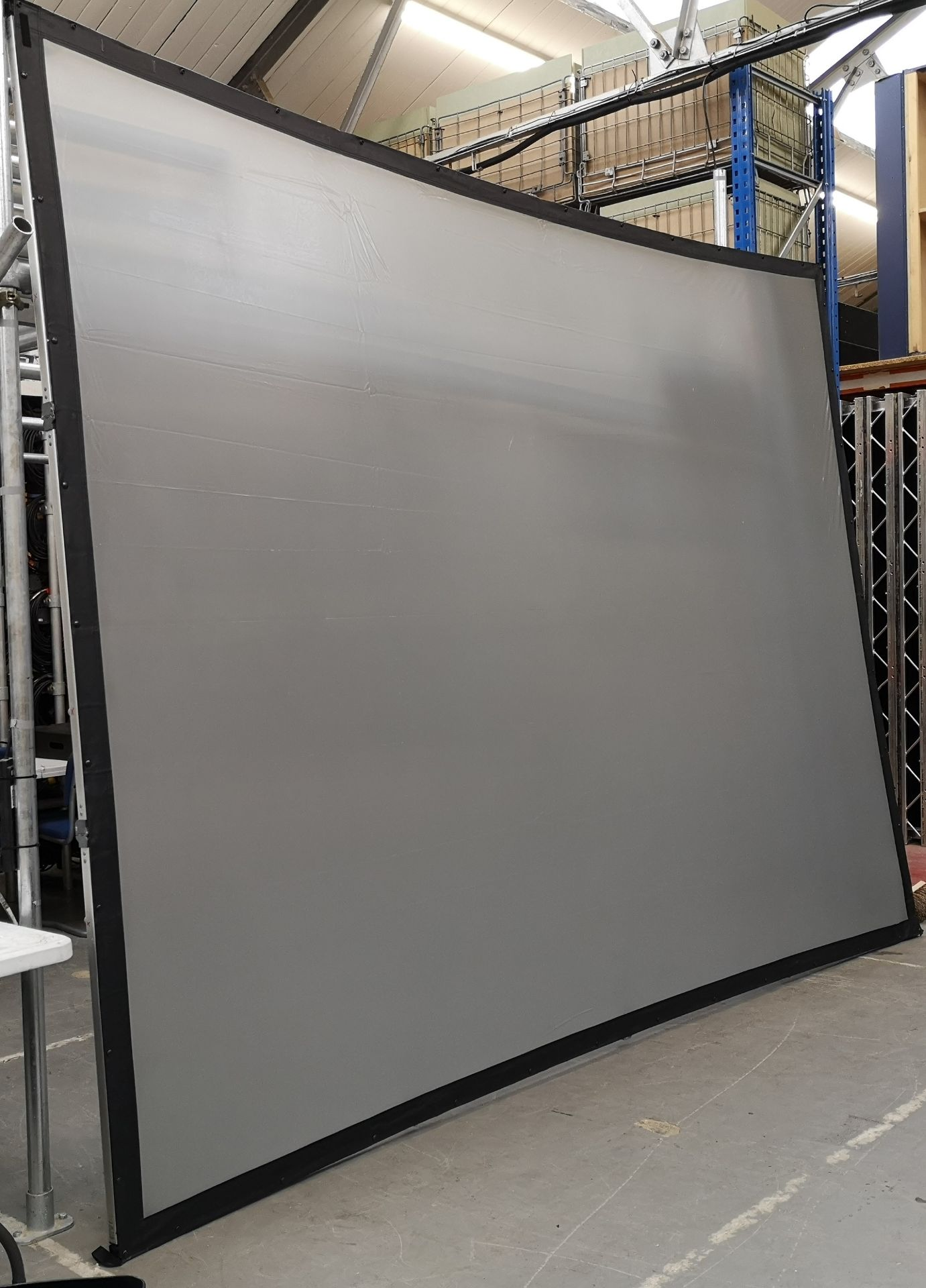 A DA-LITE 12ft x 9ft Rear Projection Fastfold Screen with frame, legs, bolts, screen surface, bag - Image 4 of 10