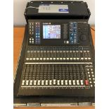 A Yamaha LS9-16 Digital 16 channel Mixing Console with flight case (small white mark on screen