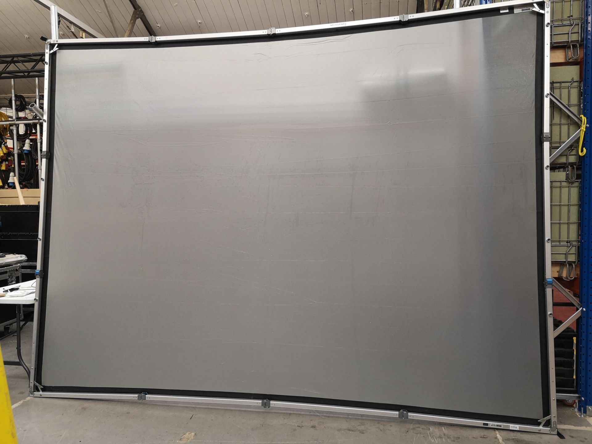 A DA-LITE 12ft x 9ft Rear Projection Fastfold Screen with frame, legs, bolts, screen surface, bag - Image 2 of 10