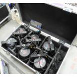 6 Black PixelPAR 90 RGB LED Par Lights, PA009OLB with hardwired 16A CEEFORM power connectors, mobile