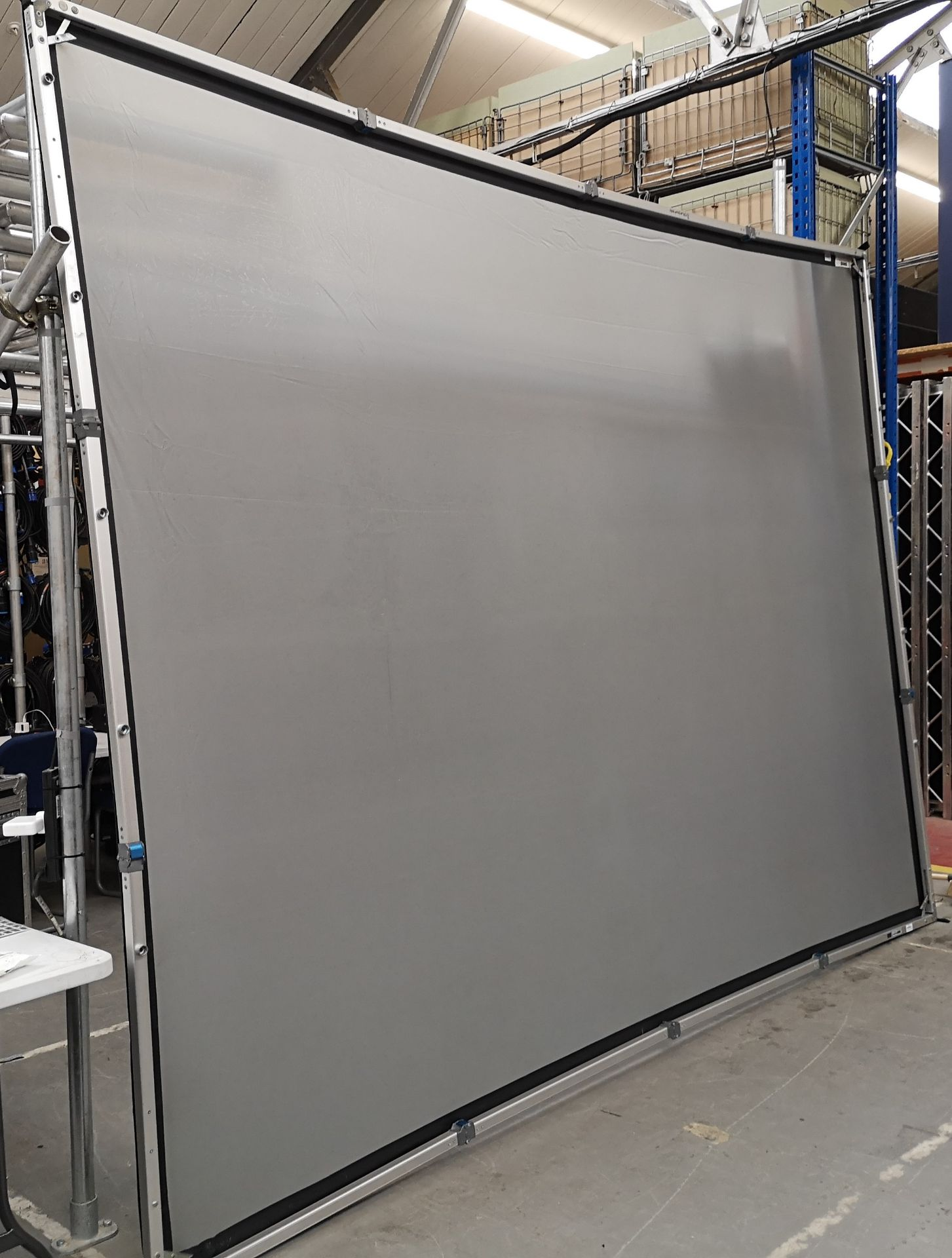 A DA-LITE 12ft x 9ft Rear Projection Fastfold Screen with frame, legs, bolts, screen surface, bag - Image 3 of 10