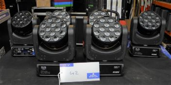 6 Robe Robin 100 LEDBeam Moving Head Beam Light in wheeled flight case with hanging clamp mount