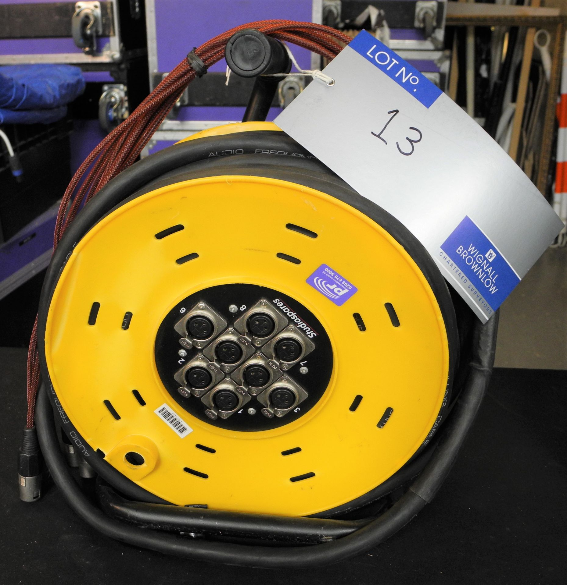 A Studiospares Audio Multicore Reel; 8 x XLR, assumed length 50m (not checked), fair condition,