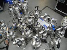 A Quantity of Assorted Lights comprising: Chrome Thomas, Proel, DTS Parcans, 2 PAR64 Long Nose, 3