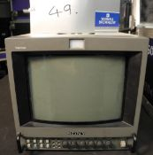 A Sony PVM-9042QM 9in Preview Monitor in flight case with power cable; composite/component inputs,