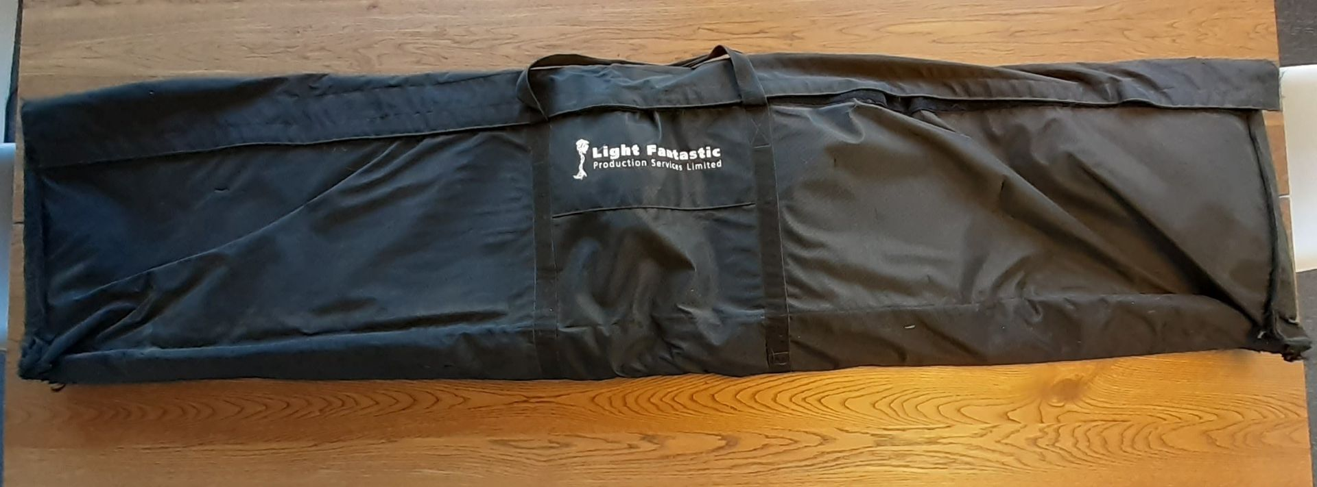 2 x Padded Unicol Parabella Stand Leg Bags, branded 'Light Fantastic Production Services' (used)(