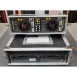 A Pioneer CMX3000 Professional Dual CD Player in hinged flight case (good condition, used)(located