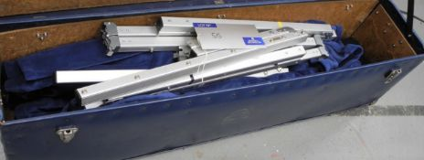 A DA-LITE 8ft x 6ft Drape Kit, blue, used condition-located at PR Live, Unit 6, Windsor Centre,