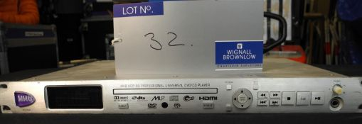 A HHB UDP-89 Professional Universal DVD/CD Player with remote control and IEC-13A power cable,