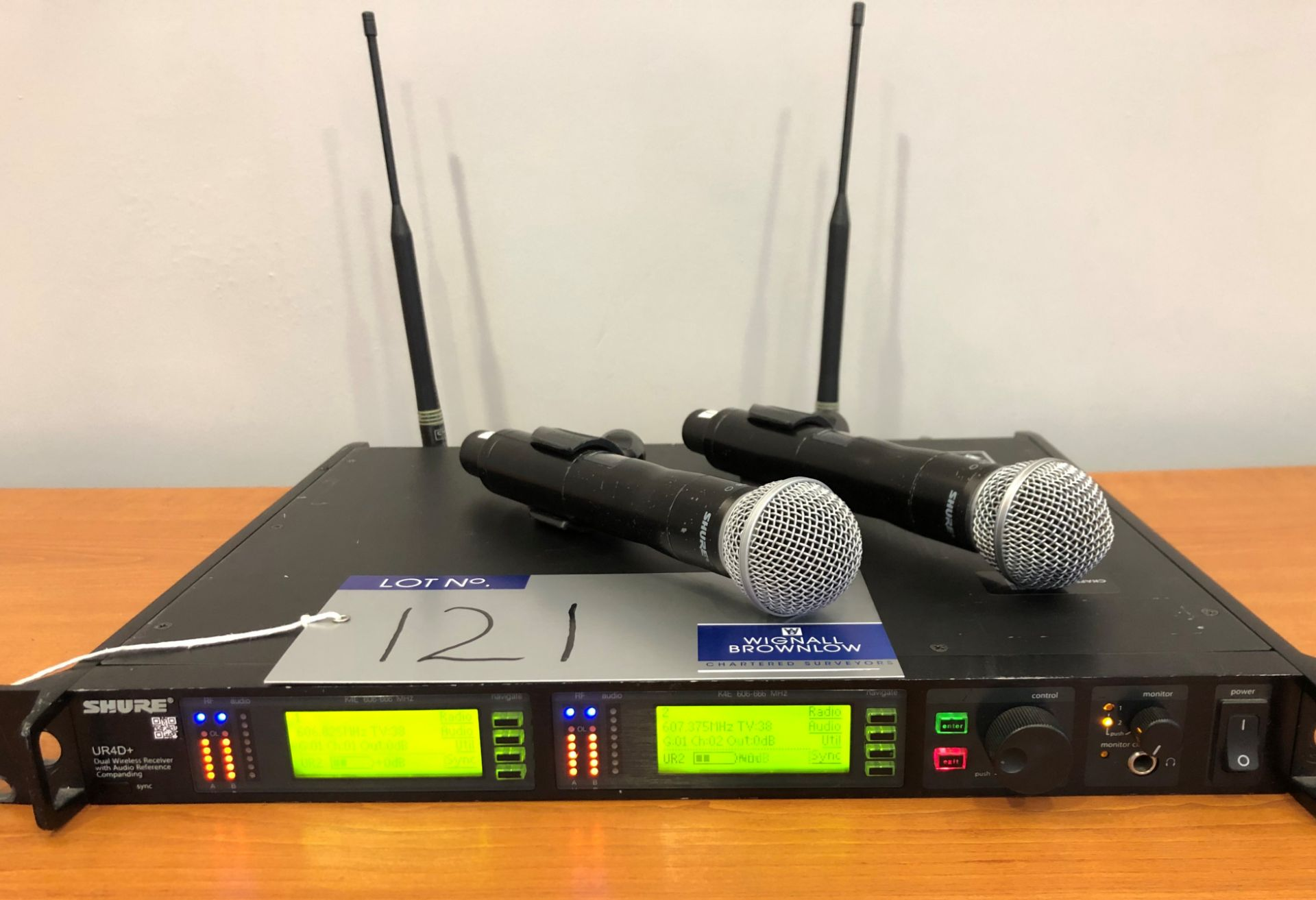 A Shure UR4D+ Dual Wireless Receiver with Audio Reference Companding in K4E, 606-666MHz with 2-UR2