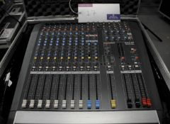 An Allen and Heath PA12-CP Powered Sound Mixer in flight case; 12 in, 2 out, full working order,