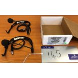 2 Shure WH20TQG Headworn Dynamic Microphones to TA-4F, tested-located at Chaps Productions, 33