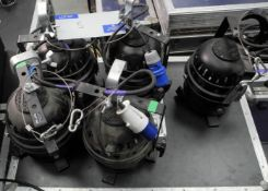 8 Black PAR64 Short Nose Lights with hardwired 16A CEEFORM power connectors, untested, all with