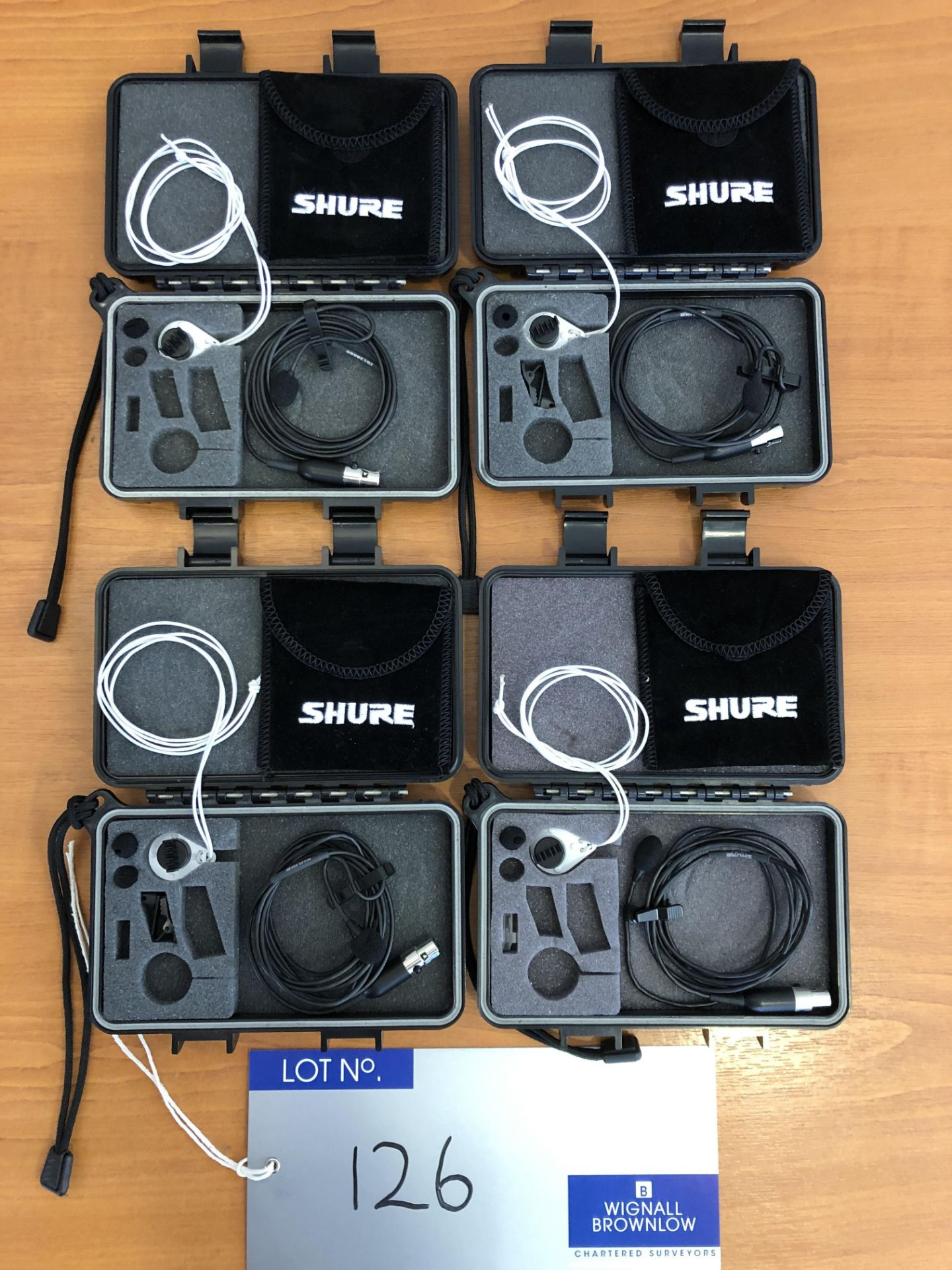 4 Shure WL51 Cardioid Lavalier Microphones to TA-4F, boxed with pouches, tested-located at Chaps