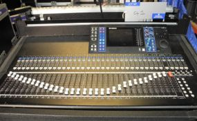 A Yamaha LS9-32 Digital Sound Mixer in wheeled flight case with optional MY16-ES64 Network Card,