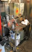 Assorted Paint Spray Equipment including Spray Guns, Pots, Hooks, Trolley.