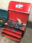 A Stack-On Tool Chest, 26in x 12in x 12in with Assorted Hand Tools.