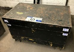 A Welded Steel Site Chest, 36in x 22in x 23in h.