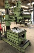A Kitchen and Wade 48in Radial Arm Drill No.8967, 3 phase with Cast Iron Slotted Box Table, 36in w x