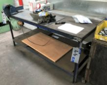 A Steel Framed Timber/Steel Top Work Bench, 72in x 36in x 34in h.