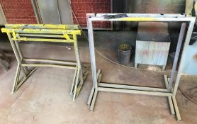 2 Steel Stands, 900mm w x 940mm h with 2 Adjustable Trestle Stands, 970mm w.