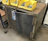 A Mobile Welded Steel Heavy Duty Storage Cabinet, 34in x 24in x 32in h.