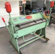A Morgan Rushworth BP50-16 Manual Box and Pan Folding Press No.3745289 389, 1-6mm capacity on mobile
