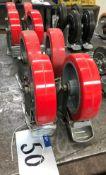 2 Sets of 4 Castors, 8in dia x 1.75in w, 2 braked wheels per set, red.