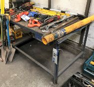 A Steel Framed Timber Top Work Bench, 72in x 36in x 34in h.