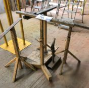 4 Adjustable Height Trestle Stands with Adjustable Height Roller Stand.
