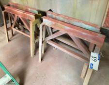 2 pairs Heavy Duty Welded Steel Trestle Stands, each 36in w x 31.5in h.