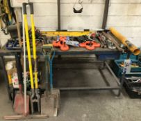 Assorted Tools and Equipment including Shovels, Drain Clearing Set, Glass Clamps, Spirit Levels,