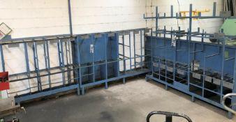 2 Welded Steel Storage Racks: 1-160in w x 15in dp x 63in h, 1-Double Sided 120in w x 33in dp x