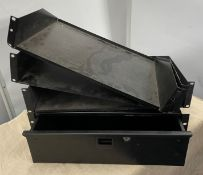 3-2U Rack Shelves with 1-3U Rack Drawer (used condition, no key for drawer)-located at Pro Event