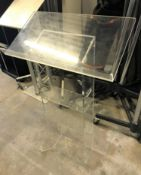 2 Lecturns: 1-1060mm h, clear perspex; 1-1m h, tubular steel (located at Unit 2, Dewhurst Row,