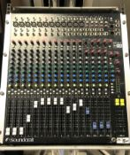 A Soundcraft Spirit M12 12 channel Sound Mixing Desk with Road Ready Flight Case, 530mm x 640mm x