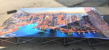 A Lightweight Fabric Pop Up Frame, 3700mm x 2250mm (360mm x 270mm x 700mm closed) with Cityscape