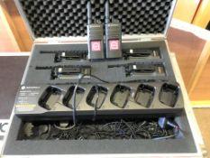 A Motorola 2 way Radio Set comprising: 6-XT420 2 way Radios, 2-6 unit Charging Stations, 6 Head