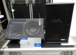 A Pair of Black Nexo PS8 Full Range Loudspeakers with BSG mobile flight case, 400mm x 750mm x