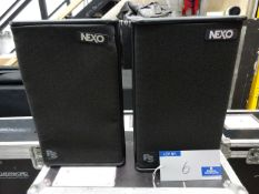 A Pair of Black Nexo PS10 Full Range Loudspeakers with mobile flight case.