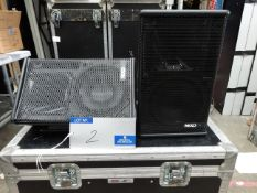 A Pair of Black Nexo PS8 Full Range Loudspeakers with 5star mobile flight case, 400mm x 750mm x