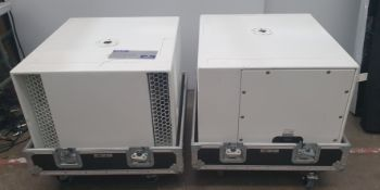 A Pair of White Nexo LS18 Subwoofers with Nexo Sub Top Pole (white) and mobile flight case, 750mm