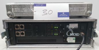 A Nexo PS8 Amplifier No.40988 with flight case, 530mm x 530mm x 185mm (NB. heavy).