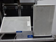 A Pair of White Nexo PS8 Full Range Loudspeakers with mobile flight case, 400mm x 750mm x 470mm.