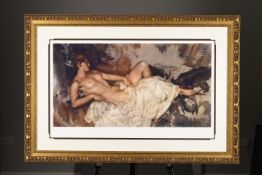 "Limited Edition Gouttelette by Sir William Russell Flint. ""Reclining Nude"". Supplied with Rare ..."