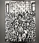 Very Large Black and White Contemporary Oil Painting