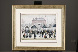 Limited Edition L.S. Lowry Market Scene, Northern Town, 1939.