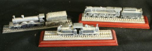Vintage 3 x Collectable Royal Hampshire Pewter Train Models