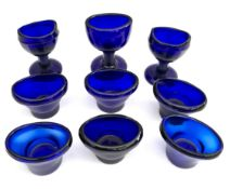 Vintage Antique 9 x Blue Glass Eye Baths